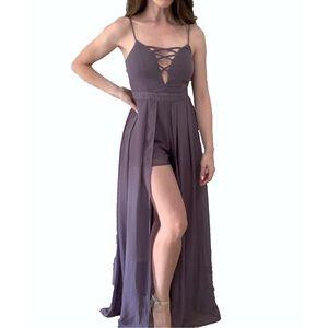 Brand New UK2LA Plum Chiffon Romper Maxi Dress